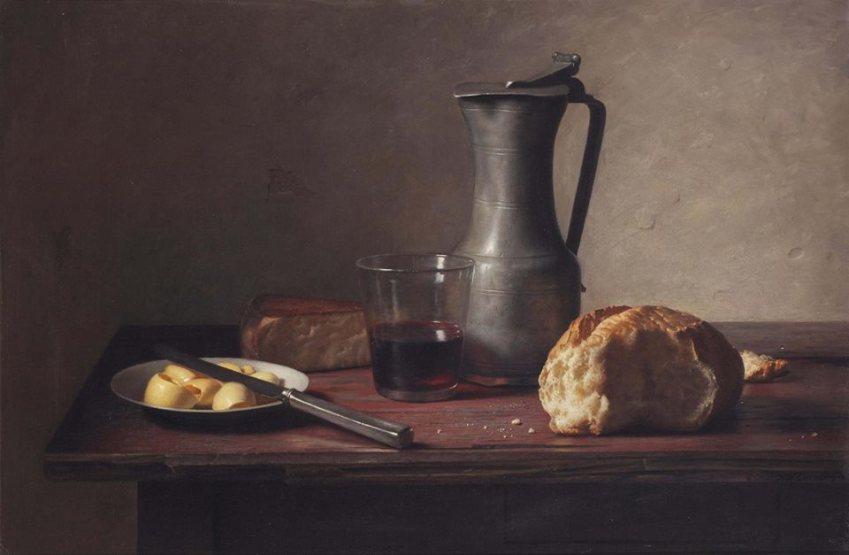 'A still life with cheese, bread, butter and wine' by Jan Eversen (Dutch artist, 1906-1995), 1963