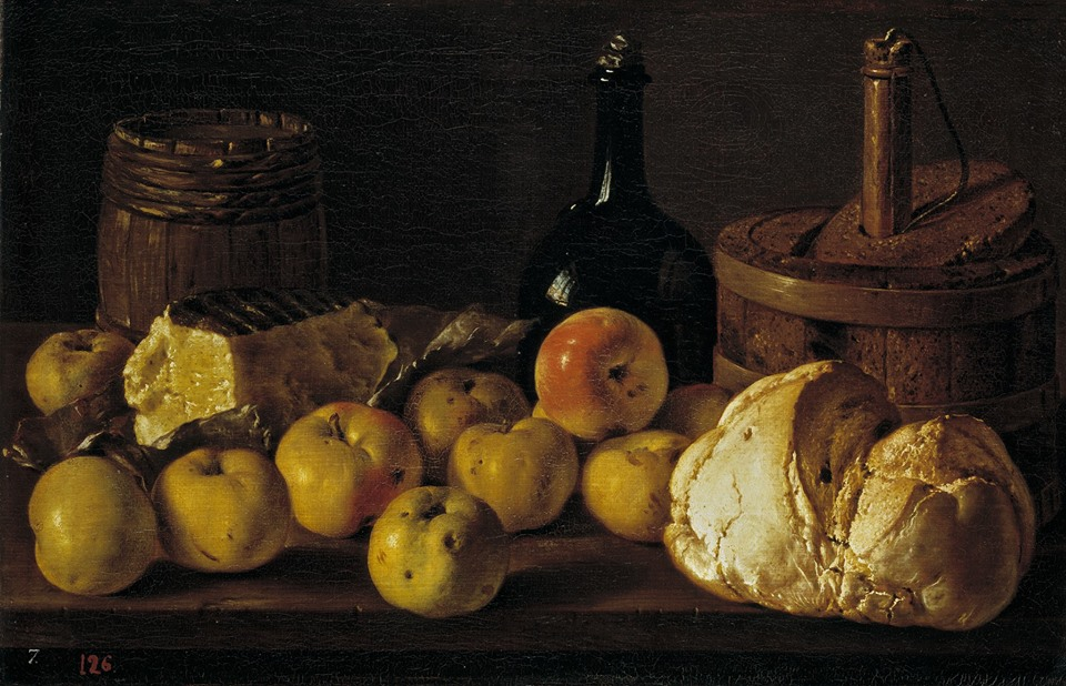 'Still life with Bread, Apples, Cheese, a bottle and a cooler' by Luis Egidio Meléndez (Spanish painter, 1716-1780), 1772