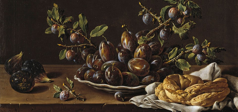 'Still life with bowl of plums, figs and crown shaped bread' by Luis Egidio Meléndez (Spanish painter, 1716-1780) Second half of the 18th Century