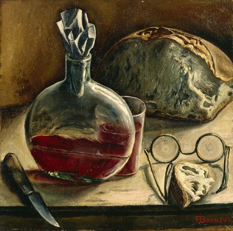 François-Emile Barraud (Swiss painter,1899-1934), Still life with carafe of wine, bread and glasses, c. 1930 François-Emile Barraud (peintre suisse, 1899-1934), Nature morte avec carafe de vin, pain et lunettes, 1930