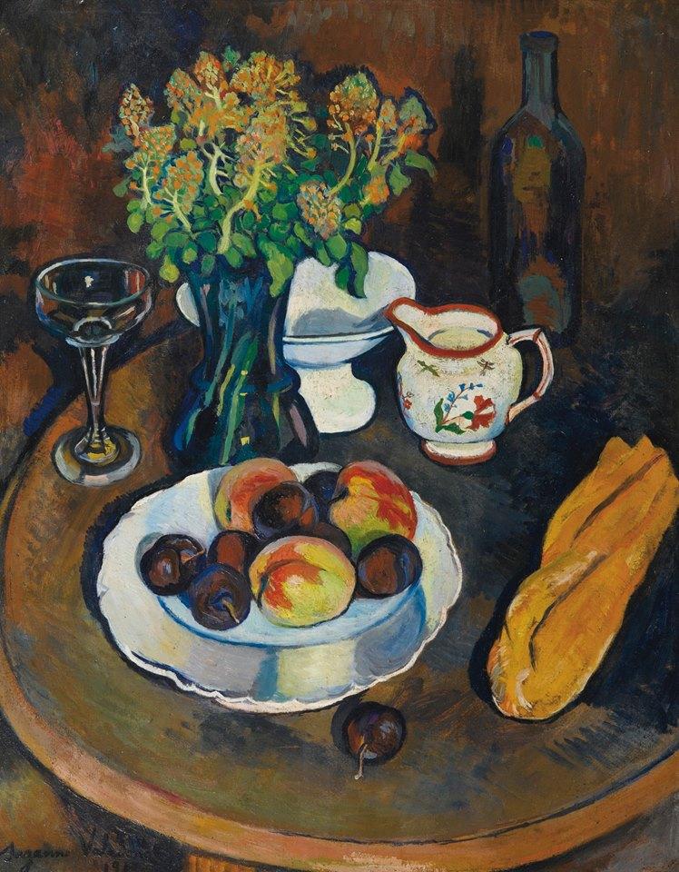 Suzanne Valadon (French painter, 1865-1938), Still life with fruit basket, 1917 Suzanne Valadon (peintre française, 865-1938), Nature morte à la corbeille de fruits, 1917